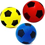Pack of 2 (Size 4) Soft Foam Sponge Indoor Outdoor Football Soccer Ball - (2 Different Colours selected at random - Blue, Red, Light Green and Yellow)