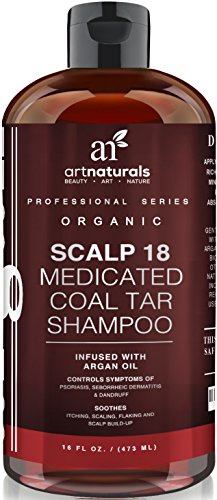 Art Naturals Scalp18 Coal Tar Therapeutic Anti Dandruff Shampoo 16 oz - Helps clear symptoms of Psoriasis, Eczema, Itchy Scalp...
