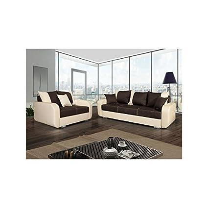 Insieme di divano diritto Calypso 3+ 2coperti convertibile Marron Beige