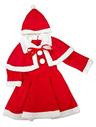 Baby Girls Christmas Santa Claus Costume Dress Hooded+HAT+Shawl Cap 3 piece Outfit