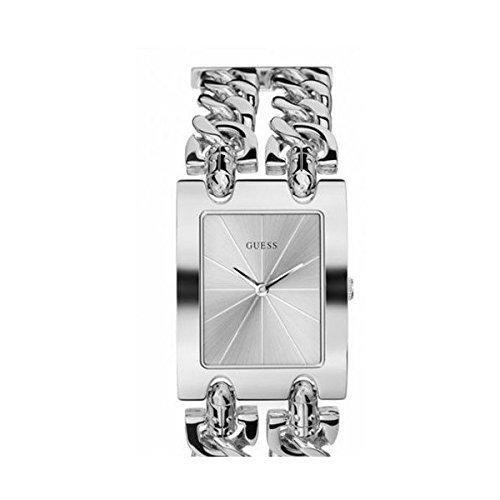 Guess  - Reloj de cuarzo para mujer, correa de acero inoxidable color plateado