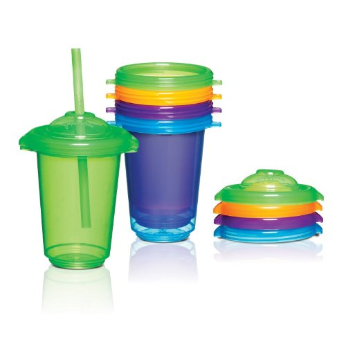 Munchkin 10 Ounce Pack Re-usable Twist Tight Straw Cups, 4 pack - 1