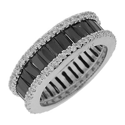 Sterling Silver Black & White Cubic Zirconia Eternity Wedding Band Ring - Size 7