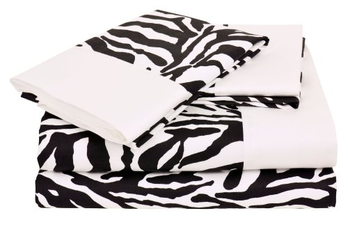 Regal Collection 300 Thread-Count Zebra Print King Sheet Set, Black/White
