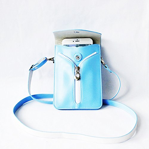 Pctc Hot-selling Fashion Pu Material Universal Mobile Phone Single Shoulder Strap Case Bag for Iphone 5/5s/6/6s Samsung Galaxy S6/s5 or Cash Credit Card and Other Small Accessories (blue)
