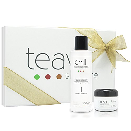 Black Friday Sale - Men'S All Natural Skin Care Gift Set - Face & Body Cleanser And Daily Moisturizer With Cooling Action -Gift Box Included - Men'S Skincare Starter Set - Cooling Cleanser And Moisturizer - Tea Tree Shampoo, Face Cleanser, And Body Wash A