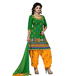 Trendz Apparels Green Cotton Patiala Salwar Suit