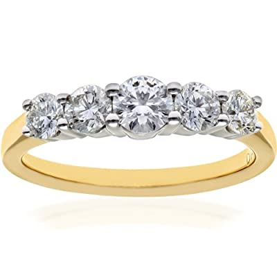 Ariel 18ct 5 stone Eternity Ring, IJ/I Certified Diamonds, Round Brilliant, 1.00ct