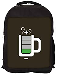 Snoogg Coffee Battery Charge Backpack Rucksack School Travel Unisex Casual Canvas Bag Bookbag Satchel