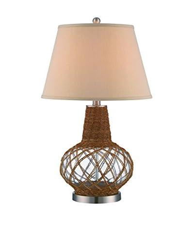 Lite Source Kesler 1 Light Table Lamp, Polished Steel/Clear/Natural/Linen