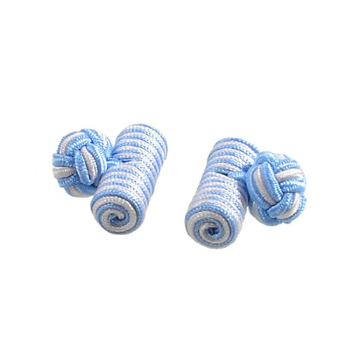 Allegra K Pair Cylinder Knotted Ball Men Shirt Suit Decor Cufflink Tie Knot Blue White