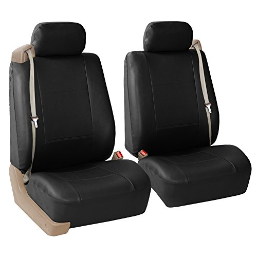 FH Group PU309BLACK102 Black Front PU Leather Seat Cover, Set of 2 (Set Built In Seat Belt Compatible Airbag Ready) (Front Leather Seat Covers compare prices)