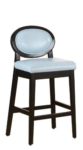 Armen Living 7015 Martini 26-Inch Stationary Barstool, Sky Blue Leather with Black Legs