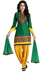 Justkartit Women's Unstitched Green & Yellow Colour Cotton + Rayon + Resham Embroidery Salwar Suit / Patiyala Collection From Justkartit + Amazing Colourful Daily Wear Patiala Suits (September 2016 Launch)