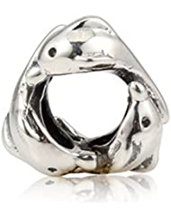 Choruslove Three Of Playful Dolphins Charm Antique 925 Sterling Silver Bead For European Style Bracelet
