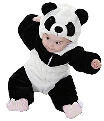 Meilaier Unisex-baby Winter Flannel Romper Panda Onesie Outfits Suit