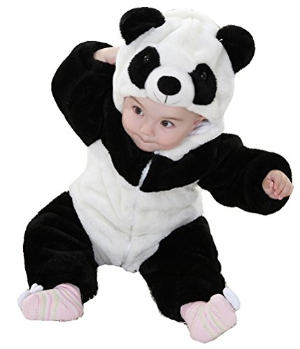Unisex-baby Infant Winter Flannel Romper Panda Outfits Snowsuit Bunting
