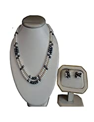 Sri Bansilal Pearls Black Alloy Earring & Necklace Set For Women