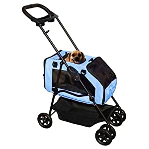 Pet Gear Travel System Pet Stroller for cats and dogs up to 15-pounds, Aqua Blue