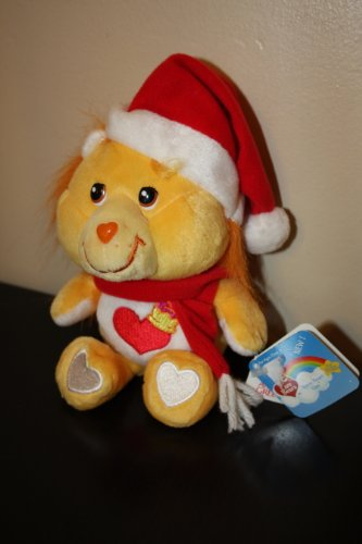 Brave Heart Lion Care Bear Cousin Dressed With Santa Hat And Red Scarf front-979451