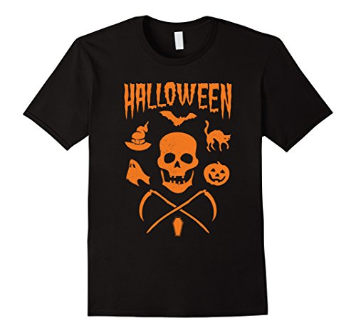 [Men's Halloween 2016 Skull and Crossbones T-Shirt Medium Black] (Classic Halloween Costumes 2016)
