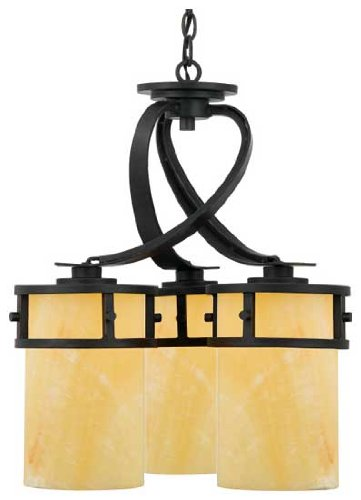 Quoizel KY5103IB Kyle 22-Inch 3-Lights Dinette Chandelier with Butterscotch Marble Shade, Imperial Bronze