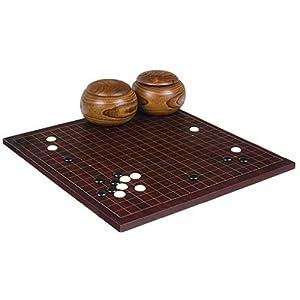 "Dark Cherry Veneer 0.6"" Go Board w/ Single Convex Stones and Bowls Set"