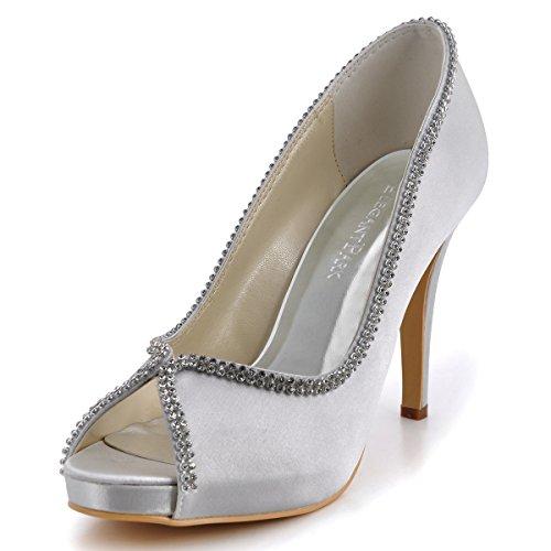 ElegantPark EP11083 Women Peep Toe Rhinestones Platform High Heel Satin Wedding Evening Dress Pumps Silver US 8