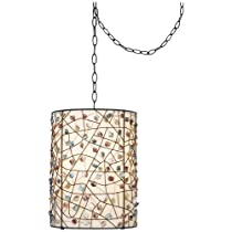 Swag lamps that plug in pearly colored stone bronze finish plug in swag pendant aloadofball Choice Image