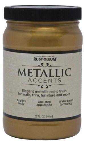Rust Oleum Metallic Accents 253607 Decorative 32 Ounce Quart Water Based  One Part Metallic