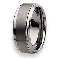 Ridged Edge Brushed and Polished Tungsten Carbide Ring (9.0 mm) - Size 13.5