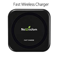 The smallest Fast wireless charger, NeWisdom® Fast Qi wireless charging pad for samsung galaxy s6 edge+/note 5/s7/s7 edge,compatible with other qi-enabled smartphone (Power Adaptor NOT Included)
