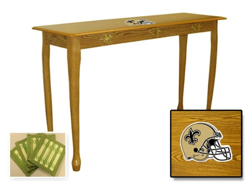 New Oak Finish Sofa Table featuringNew Orleans Saints NFL Team Logo and also includes a set of free coasters! at Amazon.com