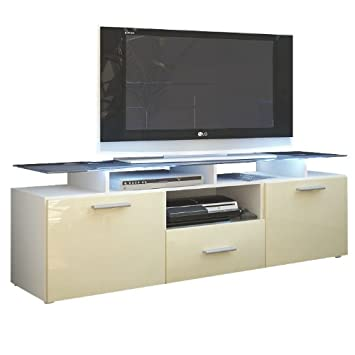 meuble tv n bas bas almada en blanc mat cr me laqu haute haute brillance cuisine maison. Black Bedroom Furniture Sets. Home Design Ideas