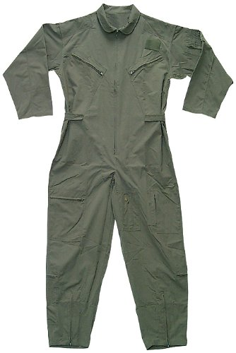 US Air Force Military Camouflage Flight Suit Coveralls (Olive Drab, Large)