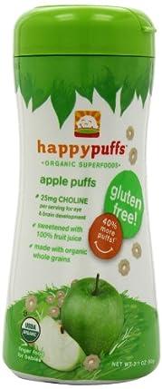 (辅食)禧贝Happy Baby Organic Puffs有机全麦泡芙小麦圈苹果味6罐SS后$14.64
