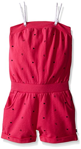 Nautica Toddler Printed Pique Romper with Grommet and Double Rope Straps Detail, Fuchsia, 2T