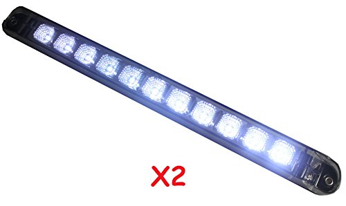 "Set Of 2 +++Bright 17"" Clear White Back-Up / Reverse / Fog Light Bar(Waterproof) With Chrome Reflector"