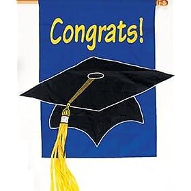 CONGRATULATIONS Graduation BANNER/Flag/GRAD Cap/TASSLE/OUTDOOR Nylon DECOR
