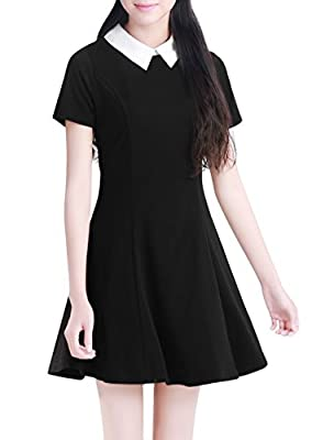 Allegra K Women Contrast Doll Collar Short Sleeves Flare Dress