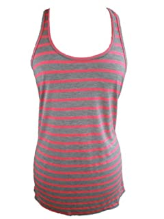 YogaColors Womens Emoticon Flowy Scoop Neck Tank Top (Large, Pink/Grey Stripe)