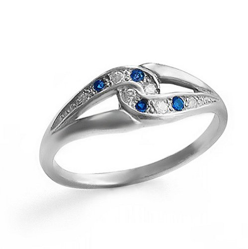 Sterling Silver Ring with Sapphires and Cubic Zirconias