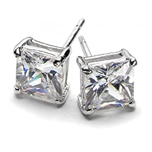 Bling Jewelry Mens Square CZ Princess Cut Stud Earrings 925 Sterling Silver 6mm