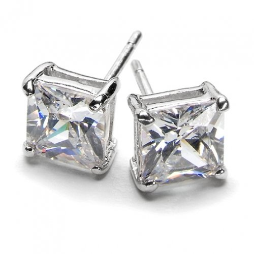 Bling Jewelry Sterling Silver Basket Set Square Princess Cut CZ Unisex Stud Earrings (0.75ct 5mm)