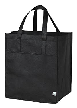 Non-woven ECO All Purpose Pocket Shopper Tote Bag, Black by BAGS FOR LESSTM