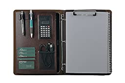 Business 3 Ring Binder Portfolio with Clipboard and Calculator, Coffee