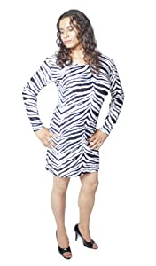 Crossdresser, Crossdressing Dress. Zebra Print Long Sleeve Dress