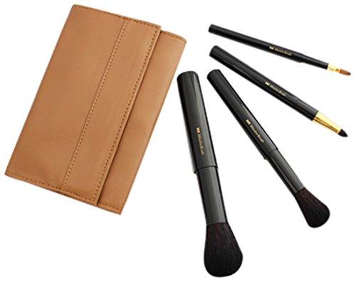 熊野筆 Mizuho Brush 携帯用スライド式ブラシ4本セット 黒