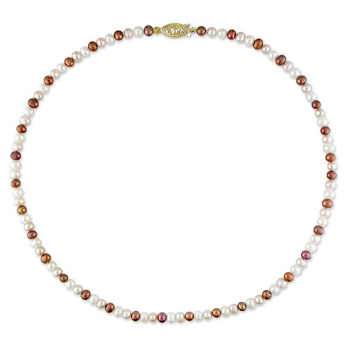 Fresh Water Multi Colored Pearl Necklace With Brass Fish Eye Clasp (4-5 mm)