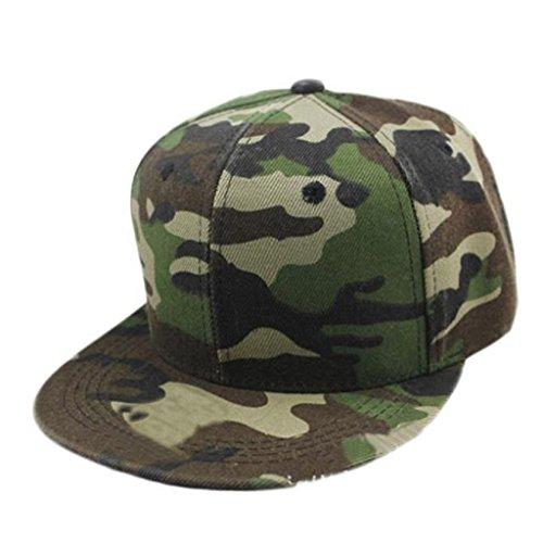 Berretto baseball Familizo Uomini Donne mimetico Baseball Cap Hip Hop Dance Cap Hat (Verde)
